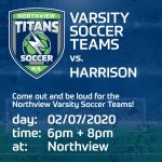 Home Game Tonight Against Harrison for Boys and Girls Varsity Soccer Teams