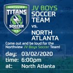 JV Soccer Boys vs. North Atlanta High School