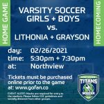 Varsity Soccer Boys and Girls Home Game tonight!