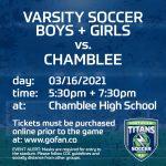 Varsity Soccer Teams Face Chamblee High School on 3/16