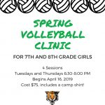 Volleyball 7th and 8th Grade Clinic registration now open