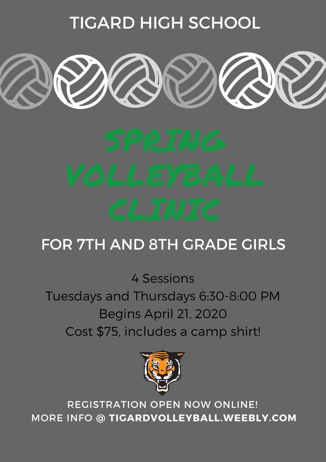Spring Volleyball Clinic for 7th and 8th grade girls opens!
