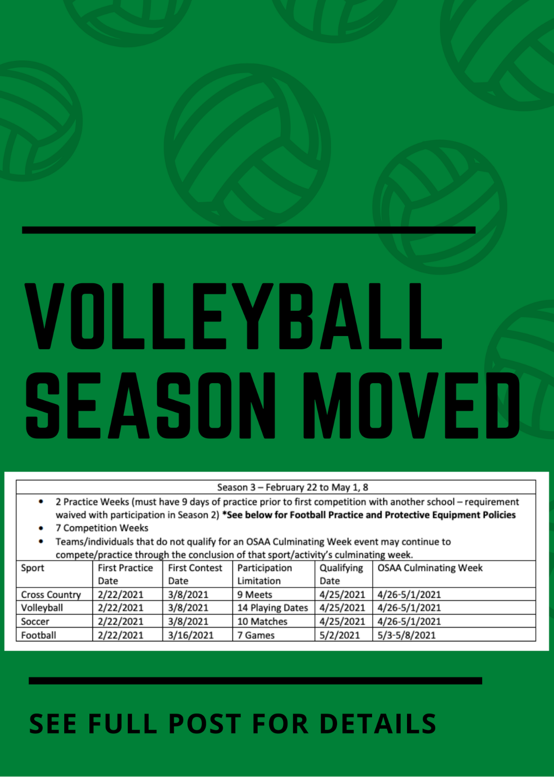 Volleyball Season Moved, New Start Date 2/22