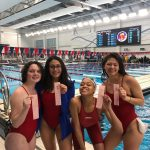 Girls Swimming and Diving NIC Championship Podium 2020