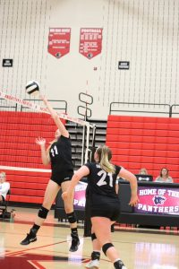 Knightstown Varsity Volleyball defeats Waldron in 4 sets