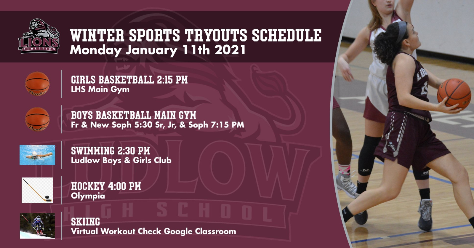 Winter Sports Tryout Dates and Times