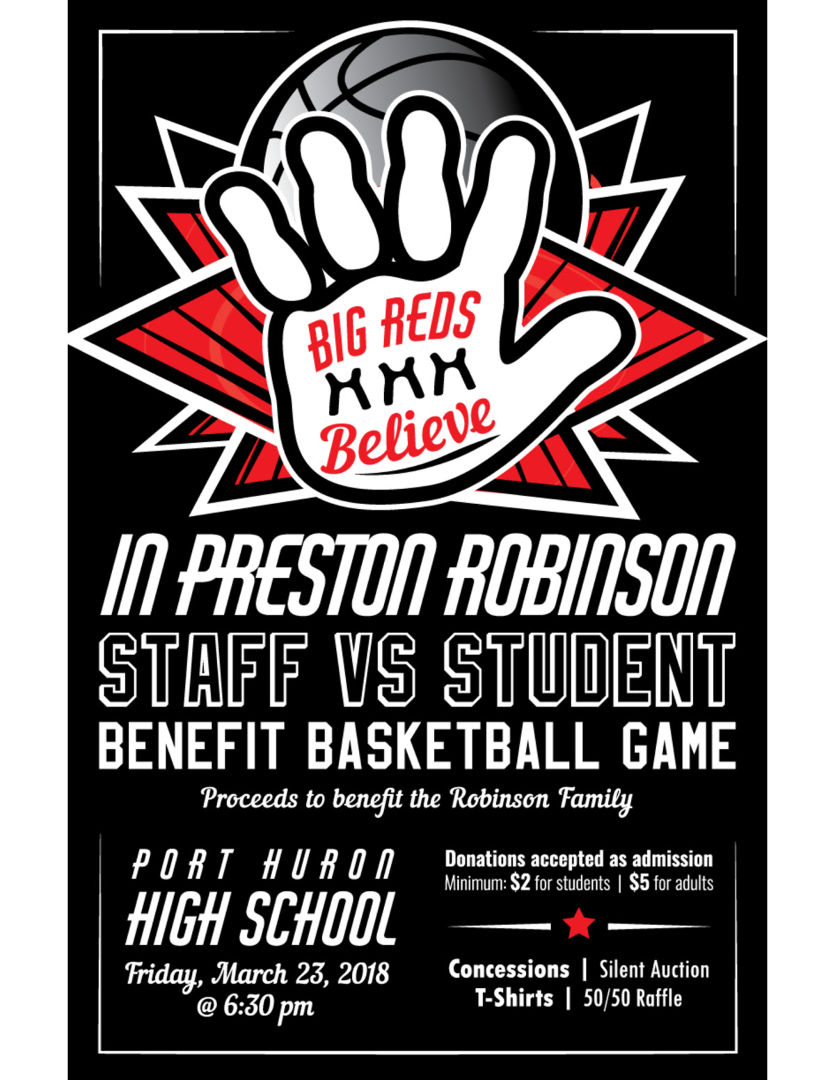 BIG REDS BELIEVE STAFF vs STUDENTS FUNDRAISER GAME – DON'T MISS IT