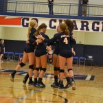 Powers Catholic High School Girls Varsity Volleyball beat Mt. Pleasant High School 3-2