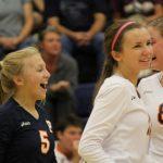 Powers Catholic High School Girls Varsity Volleyball beat Davison  High School 3-2