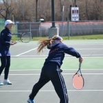 Powers Catholic High School Girls Varsity Tennis ties Heritage High School 4-4