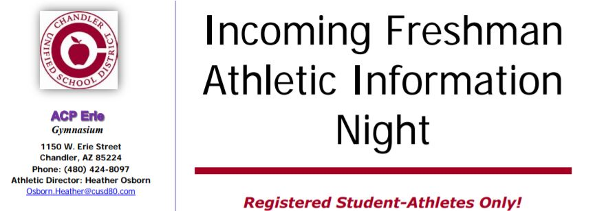 2019 Incoming Freshman Athletic Information Night
