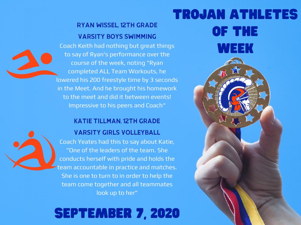 Athletes of the Week – September 7, 2020