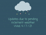 Updates for Wed 4/7 due to weather