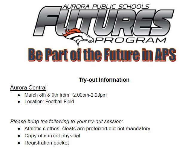 ATTENTION EIGHT GRADERS!! FUTURES FOOTBALL TRY OUTS