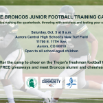 FREE BRONCOS JUNIOR FOOTBALL TRAINING CAMP!!