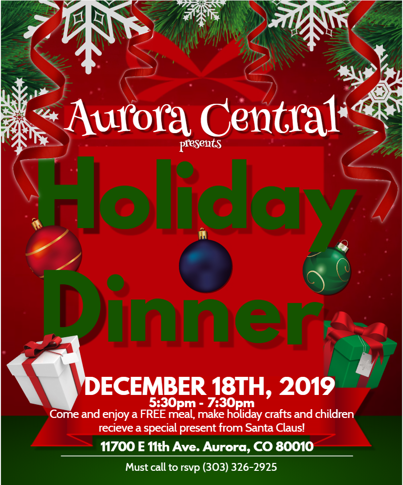 2019 Annual Holiday Dinner! FREE meal and gift from Santa!
