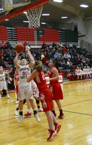A shot during the girls basketball game against Ottawa.