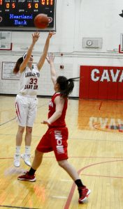 A three-pointer during the girls basketball game against Ottawa.