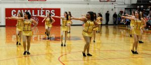 The Cavalettes perform during half-time of the game.