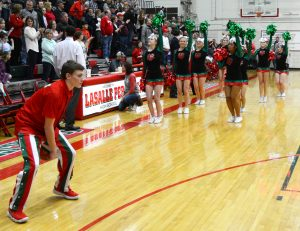 The LP cheerleaders perform during the pre-game activities.