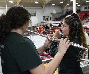 Members of the LP Pep Band perform during the game.