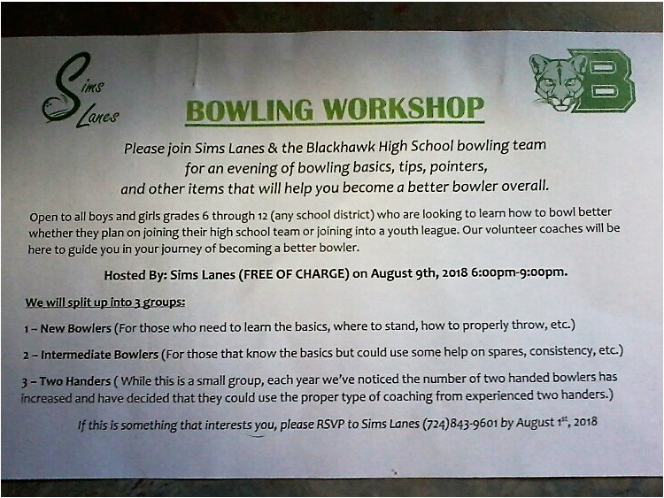 BOWLING CLINIC OPPORTUNITY