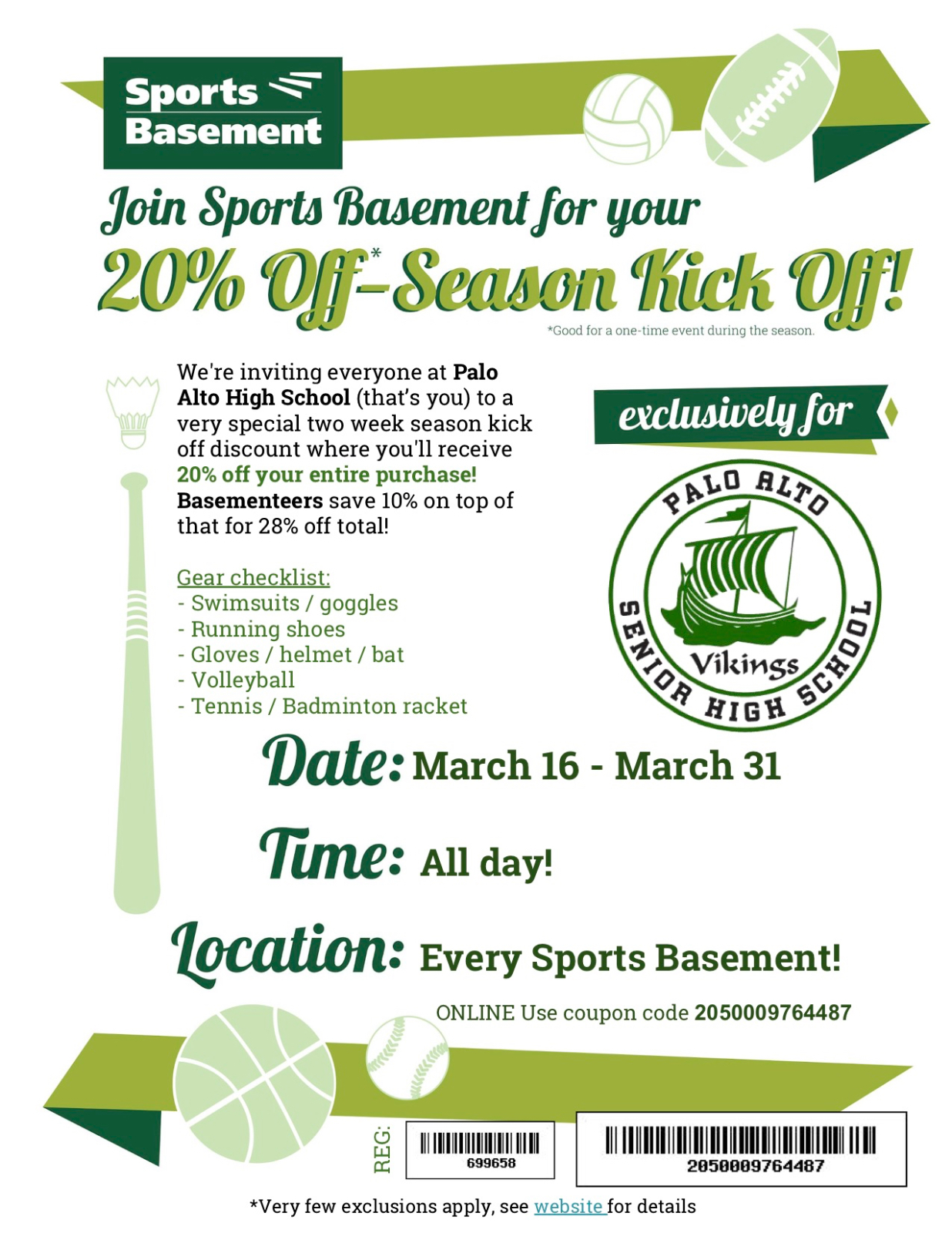 Support Paly Athletics at the Sports Basement Kickoff