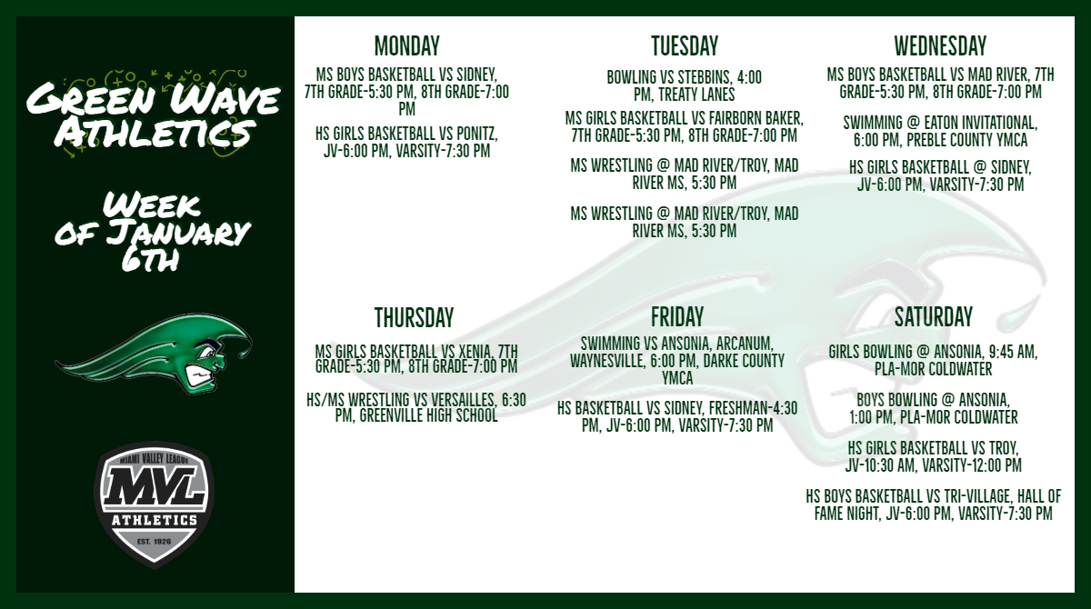 Green Wave Athletics for the Week of January 6th-January 11th