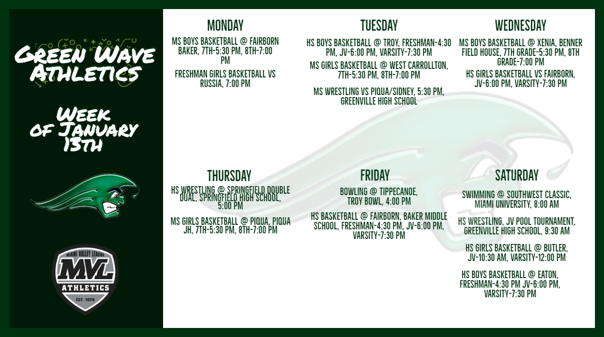 Athletic Schedules Week of January 13th-January 19th