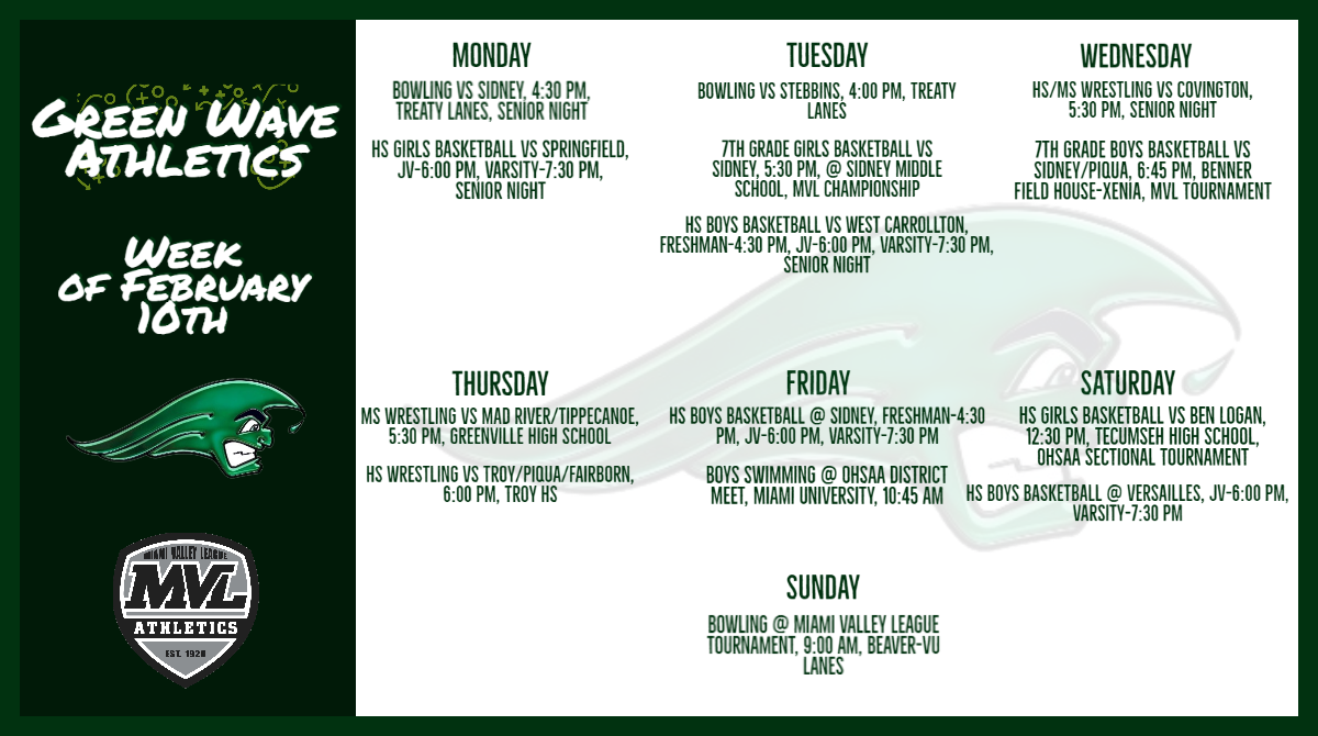 Athletic Schedule for the Week of February 10th