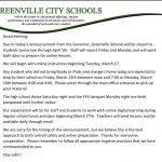 Greenville City Schools Announcement, 3/12/20