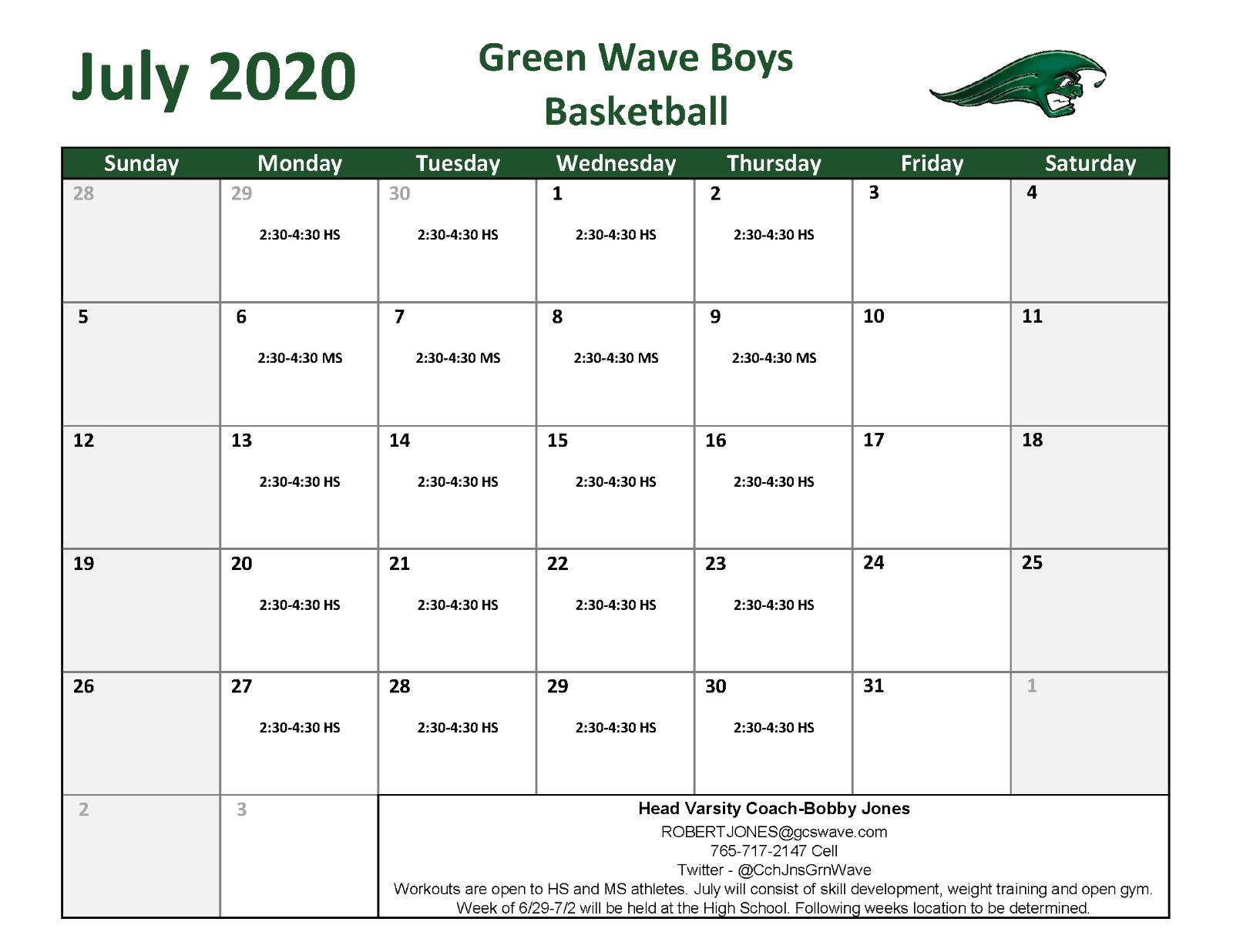 July 2020 Boys Basketball Workouts