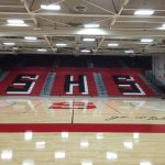GYM FLOOR AND NEW BLEACHERS ALMOST COMPLETE