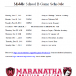 Boys Middle School B team Schedule Released