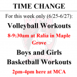 TIME AND/OR LOCATION CHANGE FOR SUMMER WORKOUTS (6/25-6/27)