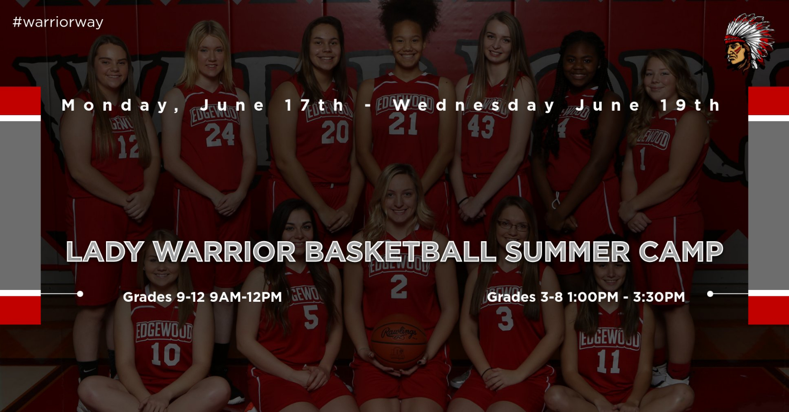 2019 Lady Warrior Basketball Camp Incoming Grades 3rd-12th