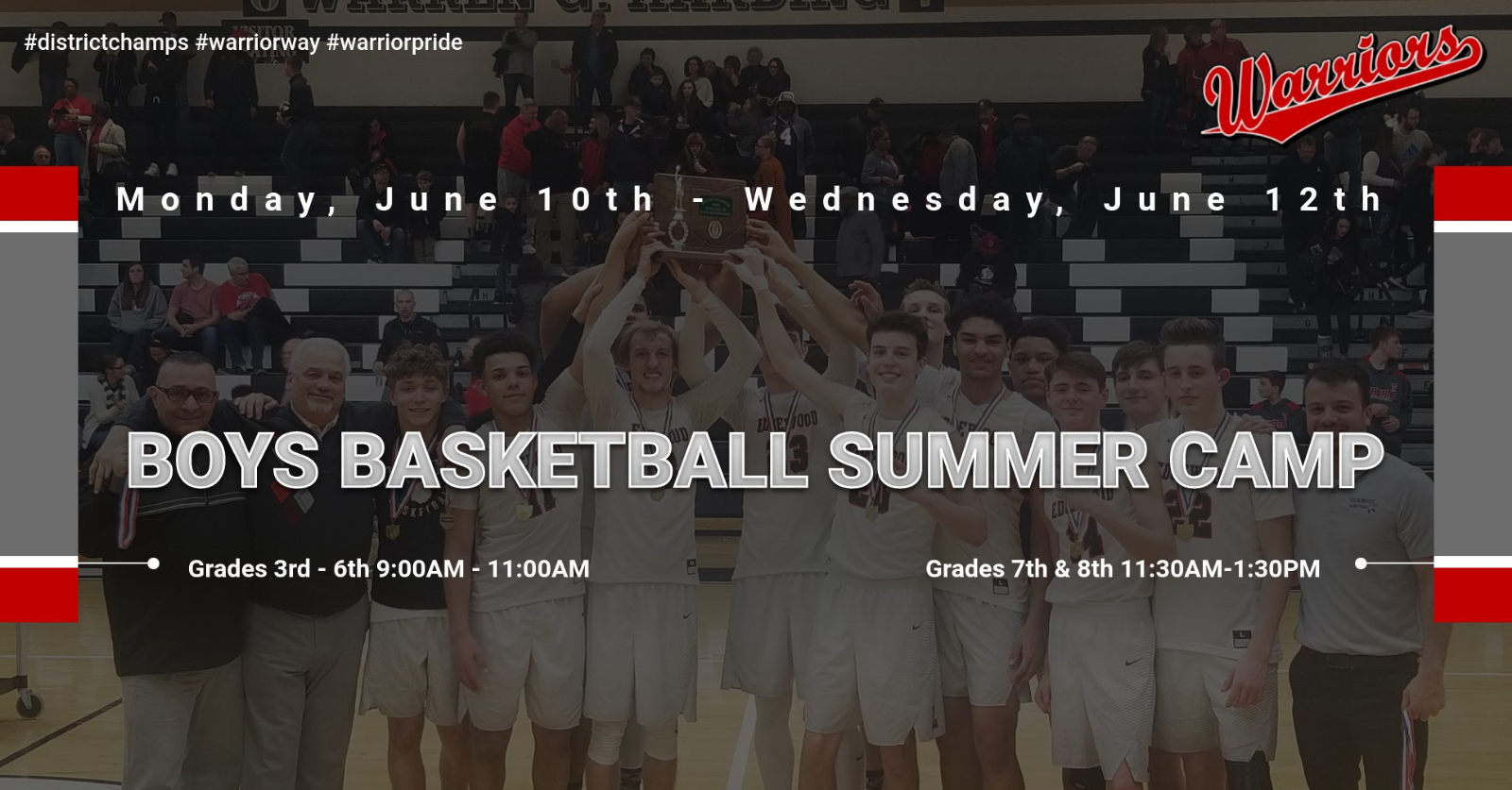 2019 Warrior Boys Basketball Camp Incoming Grades 3rd-8th