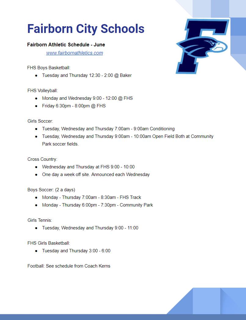 June Sports Schedule