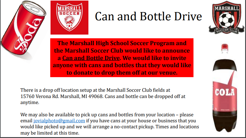 Boys Soccer Can/Bottle Drive with Marshall Soccer Club