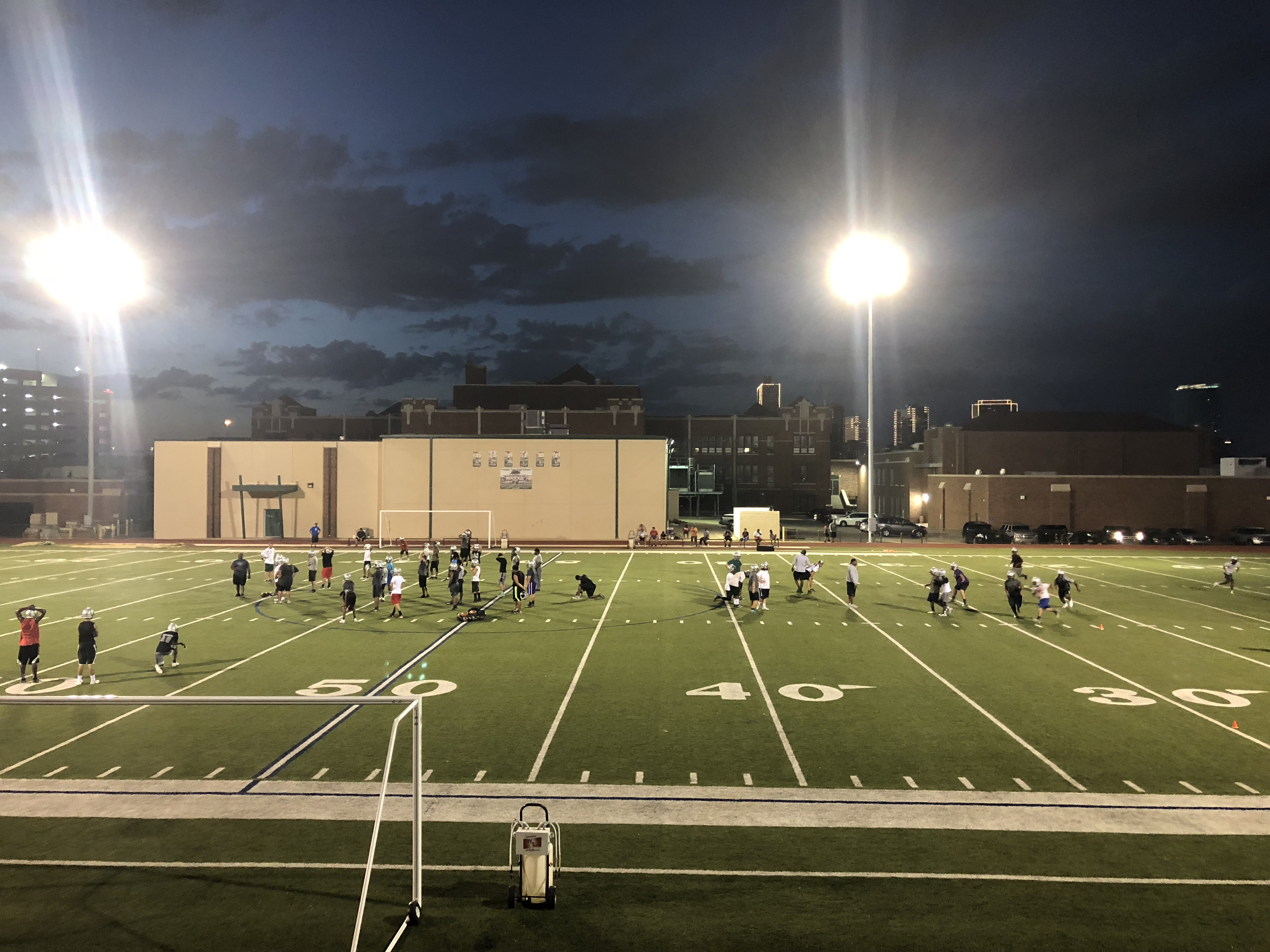 Bulldog football team takes to the practice field preparing for 6A competition, volleyball already competing prepping for their 6A season.