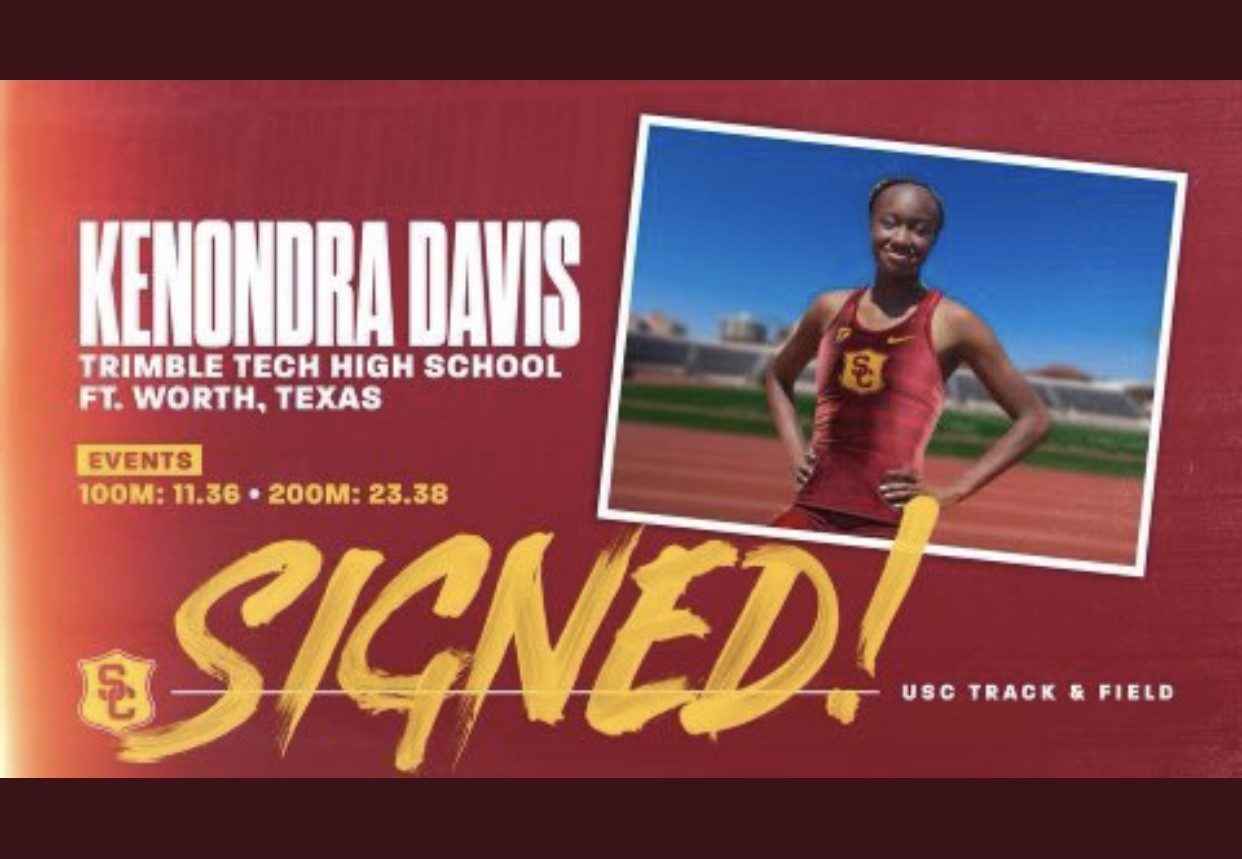 Kenondra Davis signs a letter of intent to continue her track career at . . . . .