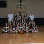 Group photo of the girl's varsity basketball team.