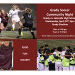 Grady Soccer Flyer Community Night 2019