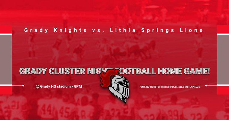 Grady Cluster night home football game tonight!