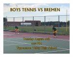 BOYS TENNIS TONIGHT: Home against Bremen