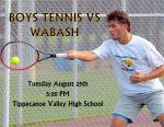 BOYS TENNIS TONIGHT VS WABASH