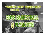 TONIGHT: Boys Basketball @ Plymouth + Streaming Link – Varsity Only