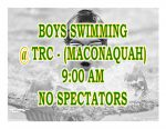TODAY: Boys Swimming @ TRC + Streaming Link – No Spectators