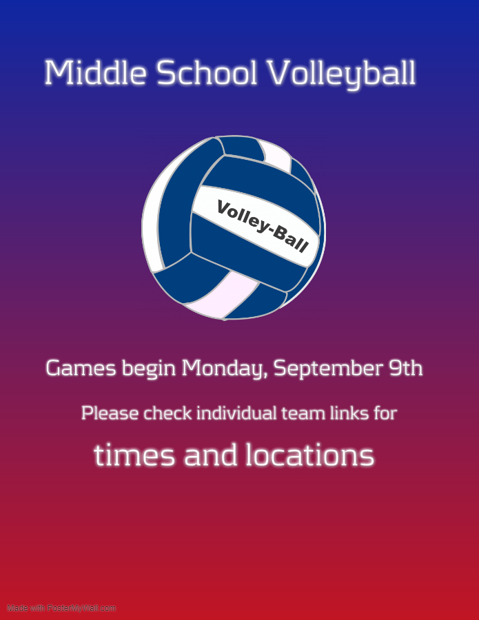 Middle School Volleyball Games Begin Monday, September 9th