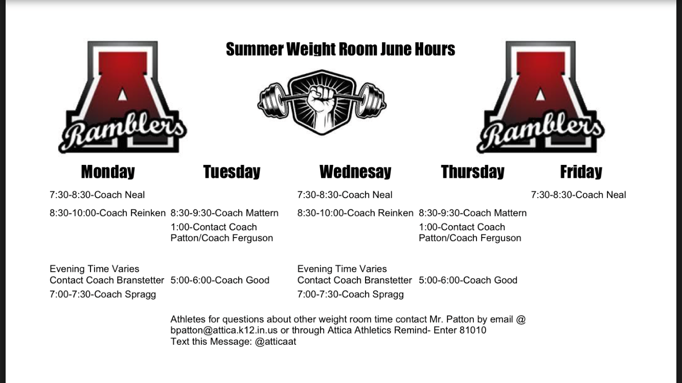 Athlete Summer Weight Room Hours for the month of June